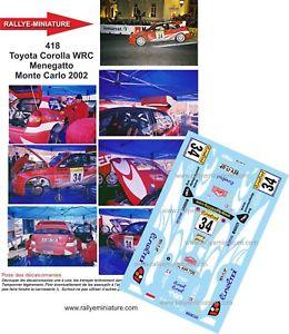【送料無料】模型車 スポーツカー デカールトヨタカローラモンテカルロラリーdecals 118 ref 418 toyota corolla wrc menegatto rallye monte carlo 2002
