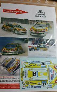 【送料無料】模型車 スポーツカー デカールプジョーラリースエードスウェーデンdecals 118 ref 531 peugeot 206 wrc pykalisto rally suede 2003 swedish