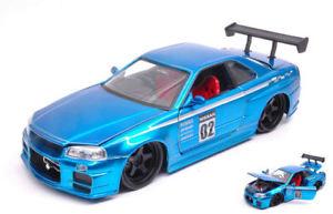 【送料無料】模型車 スポーツカー jdmチューナー124モデルgtrr34200202nissan skyline gtr r34 2002 02 metallic blue jdm tuners 124 model