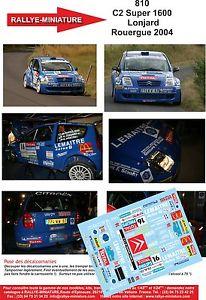 【送料無料】模型車 スポーツカー ラリーシトロエンラリーステッカーdecals 132 ref 810 citroen c2 s1600 lonjard rally of the rouergue 2004 rally
