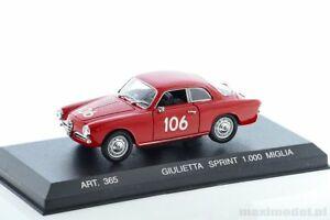 【送料無料】模型車 スポーツカー アルファロメオスプリントアートalfa romeo giulietta sprint 1000 miglia 1956 143 detailcars art365