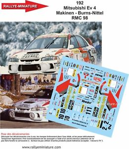 【送料無料】模型車 スポーツカー 118decals ref0192mitsubishi lancer makinen rally mounted carlo1998wrcdecals 118 ref 0192 mitsubishi lancer makinen rally m