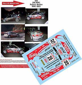 【送料無料】模型車 スポーツカー デカールプジョーセドリックロバートラリーマウントモンテカルロラリーdecals 118 ref 523 peugeot 206 wrc cedric robert rally mounted carlo 2003 rally