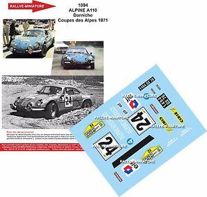【送料無料】模型車 スポーツカー アルプスデカールアルパインルノーラリークーペdecals 118 ref 1094 alpine renault a110 darniche rally coupe of the alps 1971