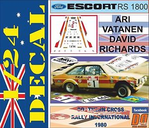 【送料無料】模型車 スポーツカー decal kit 124 ford escort rs 1800ari vatanen southern cross r1980306decal kit 124 ford escort rs 1800 ari vatanen southern