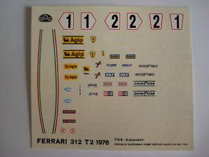 【送料無料】模型車 スポーツカー デカールフェラーリステッカーf1 decal 143 car ferrari 312 t2 gp spagna 76 decals