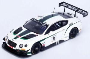 【送料無料】模型車 スポーツカー ベントレーコンチネンタルグアテマラ#スパホワイトグリーンスパークモデルbentley continental gt3 8 24h spa 2014 white green spark 143 sb079 model