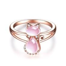 送料無料 猫 キャット お気に入り リング arskroピンクarskro rose gold filled women for stone レビューを書けば送料当店負担 cute rings cat pink