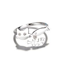 送料無料 猫 キャット リング サイズリングfunny alloy 卓越 cute cat fish opening rings summer engage jewelry finger for resizable lovely women holiday animal 本物