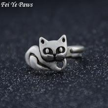 送料無料 新作製品、世界最高品質人気! 猫 キャット リング fei 日本 ye pawsfei paws women rings antique for ancient cute silver