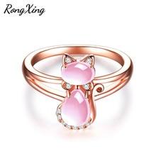 送料無料 猫 キャット 新品未使用 リング rongxingローズピンクrongxing rose gold filled cute 大特価!! stone pink for rings women