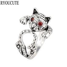 おしゃれ 送料無料 猫 キャット リング ryoucute925スターリングryoucute exaggerated women rings 925 silver sterling for 新品未使用