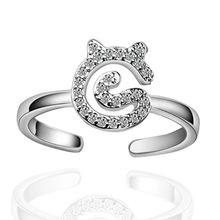 送料無料 贈答品 猫 キャット リング ajustablekorean crystal ring finger 新入荷 流行 open ajustable cat cute index