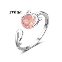 送料無料 猫 キャット リング zrhua925anilloszrhua 海外輸入 jewelry sterling women for silver anillos 925 高額売筋 rings