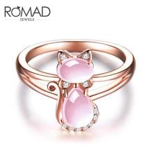 送料無料 猫 キャット 高い素材 リング 買物 ローズゴールドromad rose gold rings women wedding cat for shape color