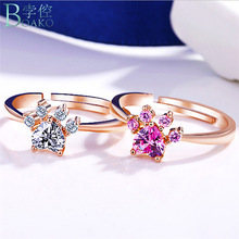 送料無料 猫 キャット リング boakoカットbear39;sboako cut cat dog gold bear39;s rose women for 人気急上昇 信憑 paw rings