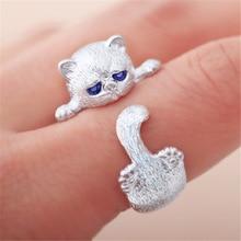 送料無料 猫 キャット リング yeyulinトレンディyeyulin trendy cute cat color 卓抜 blue ring トレンド women silver for