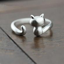 送料無料 猫 キャット リング ztrliua925スターリングztrliua 925 sterling small 超人気 silver cute korean jewelry 高級な fresh