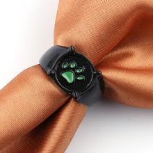 送料無料 猫 ブランド激安セール会場 キャット リング グリーンプリントリングkefeng jewelry green women paw ring print 新色追加して再販 for
