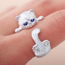 送料無料 猫 爆買いセール キャット リング #リングwomen39;s opening adjustable アイテム勢ぞろい eyed blue cute kitten rings