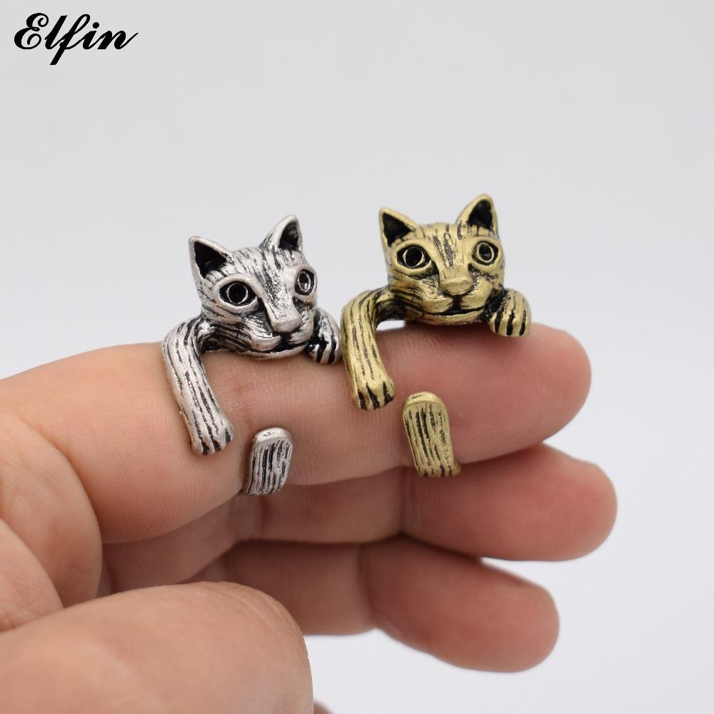 送料無料 猫 キャット リング ヴィンテージelfin vintage adjustable cat men cute rings for womenY6vy7fgb
