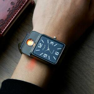 【送料無料】腕時計 スポーツライターメンズカジュアルmilitary usb charging sports lighter watch mens casual quartz wristwatches w