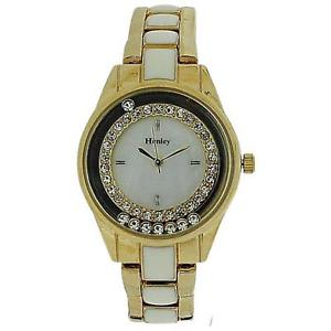 【送料無料】腕時計 レディースフローティングゴールドストーンエナメルブレスレットストラップウォッチhenley ladies floating crystals gold tone amp; enamel bracelet strap watch h072202