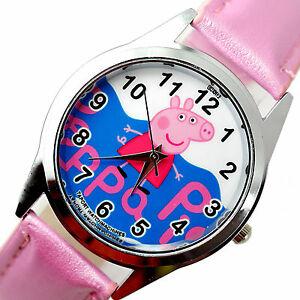 【送料無料】腕時計 ブタステンレススチールピンクアニメーションテレビ peppa pig stainless steel pink leather film cartoon pepa animation tv watch