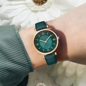 【送料無料】腕時計 ゴールドグリーンストラップクリスマス luxury watch gold green leather strap xmas gifts for her mum daughter women