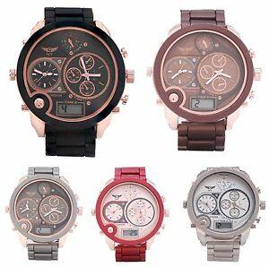 【送料無料】腕時計 メンズデザイナートリプルタイムソフトメタルストラップデジタルウォッチアンプアナログクォーツmens designer triple time soft metal strap watch digital amp; analogue quartz