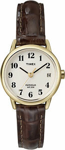 【送料無料】腕時計 リーダーtimex t20071, easy reader, womens, date, brown leather watch, indiglo