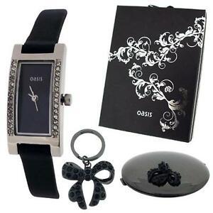 【送料無料】腕時計 オアシスレディースアナログブラックストラップウォッチミラーキーリングセット