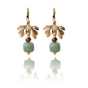 【送料無料】腕時計 エスニックジュエリービンテージハンドメイドネックレスゴールドリーフethnic jewelry vintage handmade earrings luxury gold leaf jade charm dangle earr