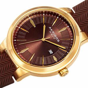 【送料無料】腕時計 メンズゴールドブラウンシリコンタイヤデザインakribos xxiv mens ak1007ygbr date goldbrown silicone tire tread design watch