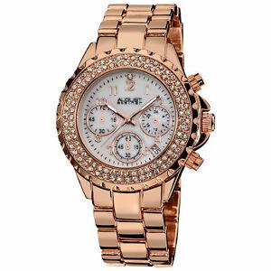 【送料無料】腕時計 シュタイナークリスタルクロノグラフローズトーンブレスレット womens august steiner as8031rg crystal chronograph rosetone bracelet watch
