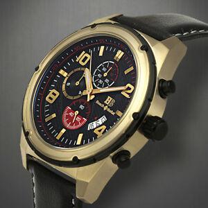 【送料無料】腕時計 クロノグラフローズゴールドクラシックブラックレザーメンズウォッチ