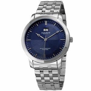 【送料無料】腕時計 ステンレススチールブレスレットmens akribos xxiv ak997ssbu silver tone date stainless steel bracelet watch