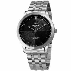 【送料無料】腕時計 ステンレススチールブレスレットmens akribos xxiv ak997ssb silver tone date stainless steel bracelet watch