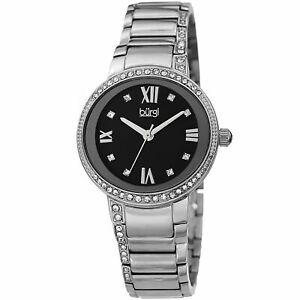 【送料無料】腕時計 バールスワロフスキーシルバーストーンステンレススチールブレスレットwomens burgi bur187ssbk swarovski silver tone stainless steel bracelet watch