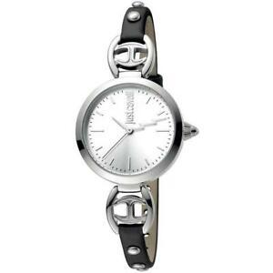 【送料無料】腕時計 キャバリロゴベラペレネロシルバースリムorologio donna just cavalli logo jc1l009l0015 vera pelle nero silver slim