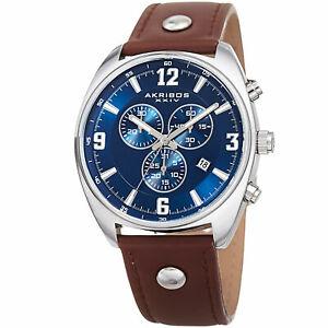 【送料無料】腕時計 クロノグラフスイスクォーツレザーストラップウォッチmens akribos xxiv ak969brbu chronograph swiss quartz leather strap watch