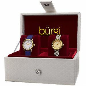 【送料無料】腕時計 バールゴールドトーンスワロフスキークリスタルレザークオーツwomens burgi bur133yg goldtone quartz swarovski crystal leather watch set