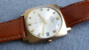 【送料無料】腕時計 ゴールドプレートケースgold plate dimier date watch, running order, 30mm case, calibre peseux 7056