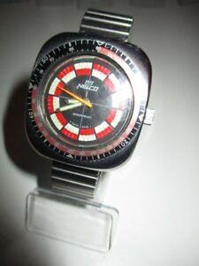 【送料無料】腕時計 ビンテージダイバーダイバーメーターハウnelco vintage diver taucheruhr tachymetre hau 41 mm 70er