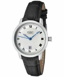【送料無料】腕時計 ステンレススチールケースブラックレザーストラップレディス¥