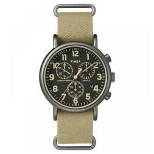 【送料無料】腕時計 ベージュビンテージグラフィカルtimex orologio uomo weekender tw2p85200 tessuto beige vintage datario cronografo