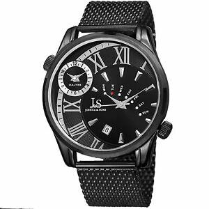 【送料無料】腕時計 メンズジョシュアタイムゾーンメッシュブレスレットmens joshua amp; sons jx112bk two time zone date complication mesh bracelet watch