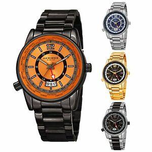 【送料無料】腕時計 メンズマルチファンクションステンレススチールブレスレットmens akribos xxiv ak1021 quartz gmt multifunction stainless steel bracelet wa