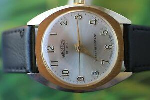 【送料無料】腕時計 スイスメンターウォッチgreat big goldplated swiss mentor de luxe water resistant watch