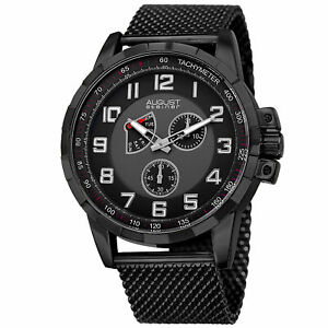 【送料無料】腕時計 mens august steiner as8202bk small seconds date tachymeter mesh bracelet watch